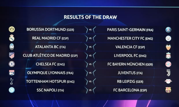 Real Madrid v Manchester City, Atlético v Liverpool in Champions League last-16.